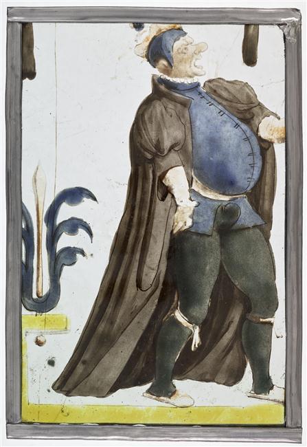 Homme déclamant, vitrail français, fin du XVIe siècle