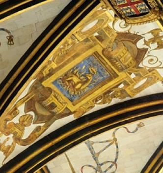 Salamandre peinte, détail de la voûte de la chapelle du château d'Écouen