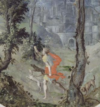 La chasse d'Esaü, cheminée peinte, Château d'Écouen, vers 1550