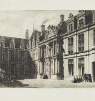 Ecouen, façades dans la cour, Octave de Rochebrune, 1865