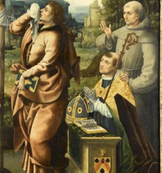 Détail : saint Jean au pied de la croix, et le donateur en prière avec saint François d'Assise