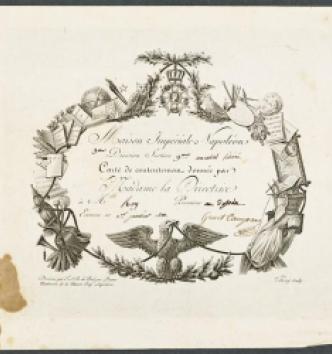 Carte de contentement de la maison d'éducation de la Légion d'honneur, F.A.B. de Balzac