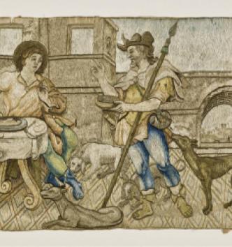 Esaü vend son droit d'aînesse à Jacob pour un plat de lentilles, France, 1er tiers du XVIIe siècle