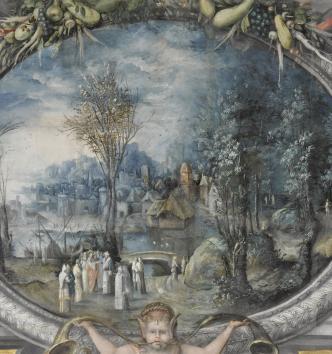 Le tribut de César, cheminée peinte, Château d'Écouen, vers 1550