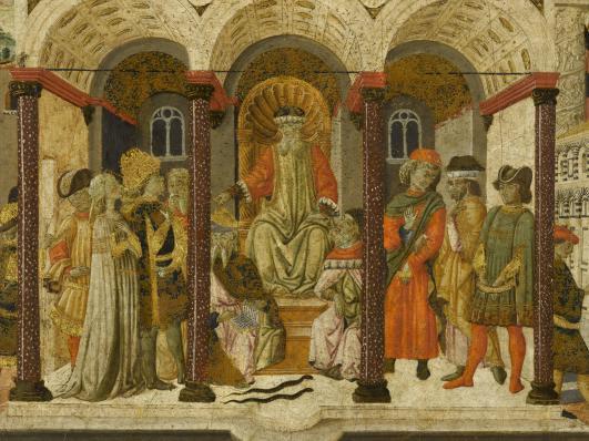 Tiberius Gracchus et Cornélie, panneau de cassone, Giovanni di Ser Giovanni, Florence, 1465-1470