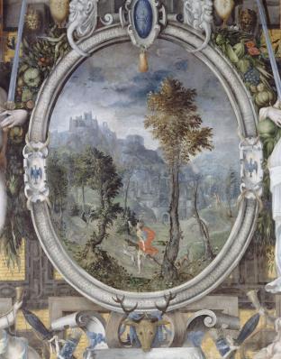 La chasse d'Esaü, cheminée peinte, Château d'Ecouen, vers 1550