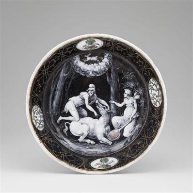 Assiettes des douze mois de l'année à l'emblème d'Horace Farnèse : Décembre, Jean II Pénicaud