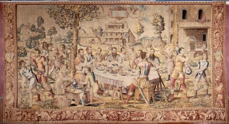 Le Dîner du général, Bruxelles, atelier de Jean Baudouin d'après Giulio Romano