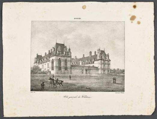 Vue du château d'Ecouen prise depuis le sud-est, lithographie de Charles Motte, d'après Victor, vers 1820 - avant 1836