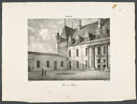 Vue de l'angle sud-est de la cour du château d'Ecouen, lithographie de Charles Motte, d'après Victor, vers 1820 - avant 1836