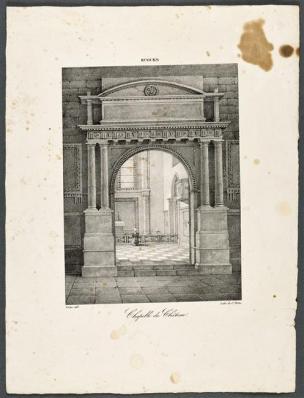 Vue de la porte de la chapelle du château d'Ecouen, lithographie de Charles Motte, d'après Victor, vers 1820 - avant 1836