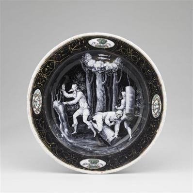 Assiettes des douze mois de l'année à l'emblème d'Horace Farnèse : Février, Jean II Pénicaud
