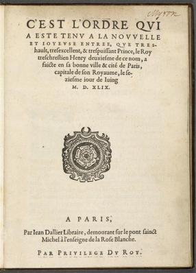 L'Entrée d'Henri II à Paris le 16 juin 1549