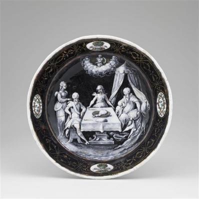 Assiettes des douze mois de l'année à l'emblème d'Horace Farnèse : Janvier, Jean II Pénicaud