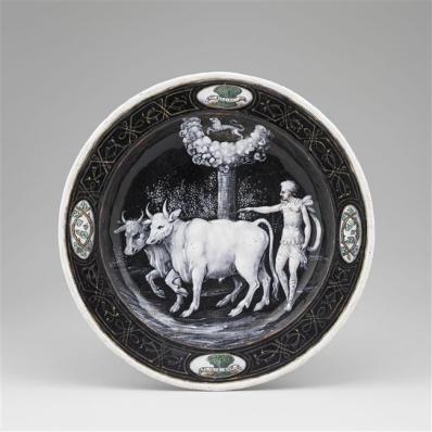 Assiettes des douze mois de l'année à l'emblème d'Horace Farnèse : Juillet, Jean II Pénicaud