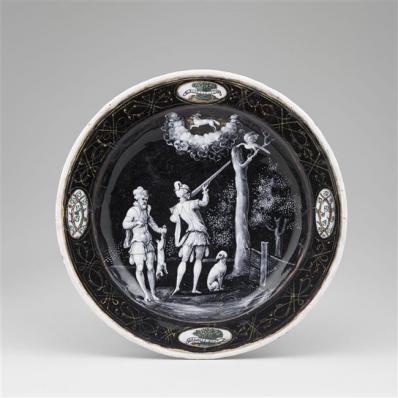 Assiettes des douze mois de l'année à l'emblème d'Horace Farnèse : Mars, Jean II Pénicaud