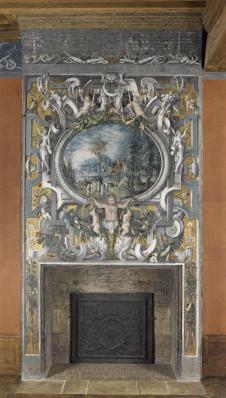 Le tribut de César, cheminée peinte, Château d'Ecouen, vers 1550