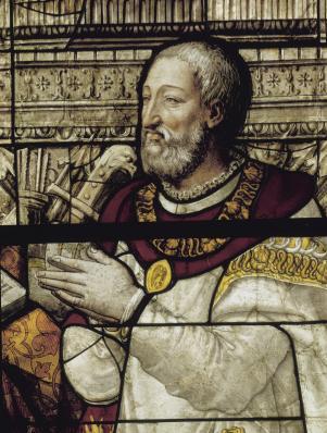 François Ier en prière, vitrail de la Sainte-Chapelle de Vincennes, Nicolas Beaurain, vers 1555